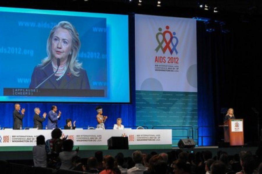 Hillary Clinton and Elena Salgado on the Second day of the XIX International AIDS Conference